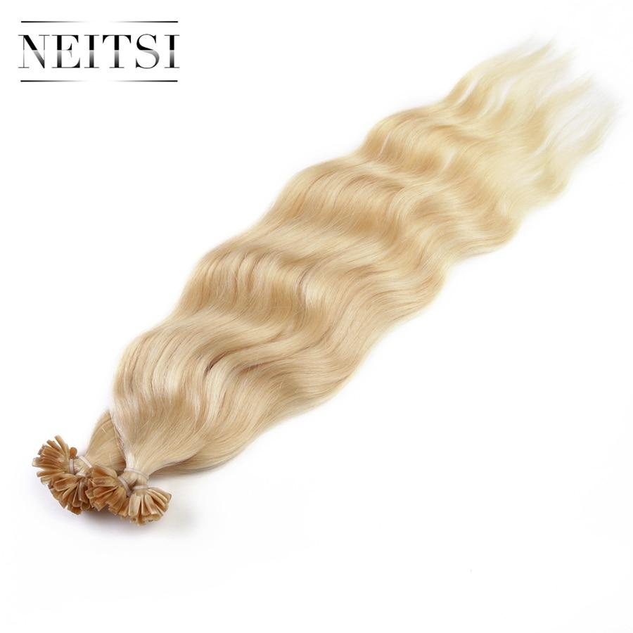 Neitsi Wellenförmige Indische Menschliche Fusion Haar U Nagelspitze - Menschenhaar (für Weiß) - Foto 4