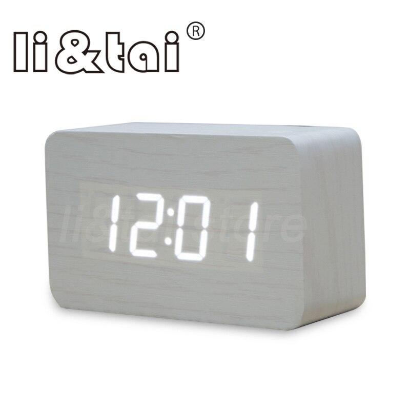 US $9 73 20% OFF|Wood Bamboo LED Alarm Clock Reloj Despertador Modern  Temperature Desk Clock LED Electronic Desktop Digital Table Clock-in Alarm