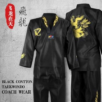 Uniforme de Dobok de Taekwondo negro para niños y mujeres, ropa de algodón, uniforme para jodo, Taekwondo
