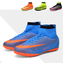 hot sale cheap high ankle men soccer shoes long spike football boots TF cleats adult sneakers zapatillas de futbol outdoor lawn