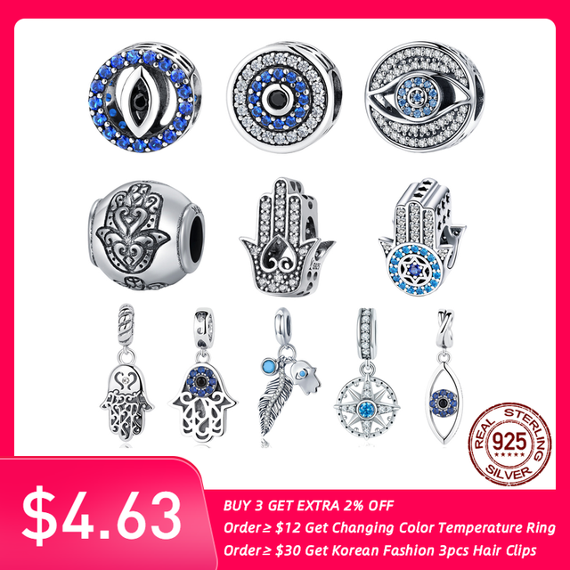 925 Sterling Silver Charm Blue Eye Lucky Fatima Hand Hamsa Hand Eye Pendant Charm fit PAN Charm Bracelet Silver 925 Jewelry