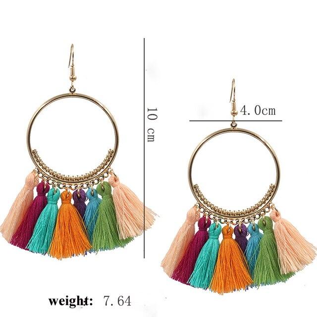 Naomy&ZP Vintage Bohemian Handmade Cotton Tassel Earrings for Women Long Big Ethnic Fringe Drop Earrings Party Jewelry Bijoux 5
