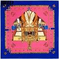 2016 Mulheres Da Moda Sarja Lenço De Seda Pura Quadrado Fresco Navios de Guerra Impresso Mulbery Lenço De Seda Famosa Marca Designer Scarf Shawl