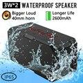 Mini portátil super bass speaker sardine 3 w * 2 apoio tf cartão sem fio bluetooth speaker à prova d' água ip65 ao ar livre com 2600 mah banco de potência