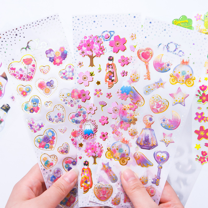 3D Girl Crystal Bronzing Stereo Diary Stickers Scrapbooking School Supplies Stationery