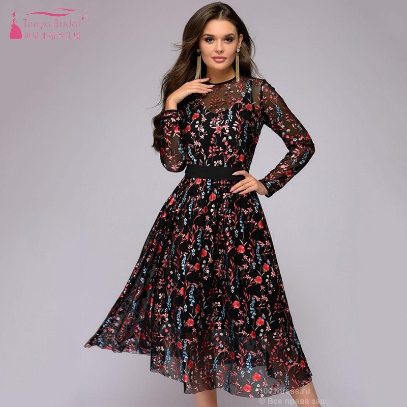 Homecoming Dresses Long Sleeves Flower Flora Pattern Cocktail Dress Gown In Stock Women Gowns DQG646