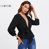 COLROVIE Allover Beading Knot Front Peplum Blouse 2017 Black Deep V Neck 3 4 Sleeve Ruffle