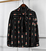 Fashion womens bowknot embroidered Shirts New 2019 spring summer long sleeves stripe & Blouses G168