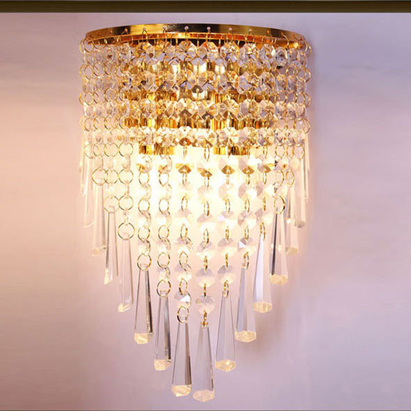 LED warm bedroom bedside lamp simple modern living room aisle balcony European creative crystal double wall lamp for bedroom wall light 12w led wall lamp bedroom bedside living room hallway stairwell balcony aisle balcony lighting ac85 265v hz64
