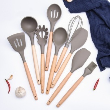 Silicone Kitchenware Non-Stick Pan Kitchen Utensils High Toughness Wooden Handle Cooking Tools Sets