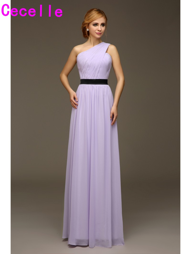 One Shoulder Long Lilac Beach Bridesmaids Dresses Floor Chiffon With Belt Wedding Party Dresses Custom Made Bridesmaid Robes