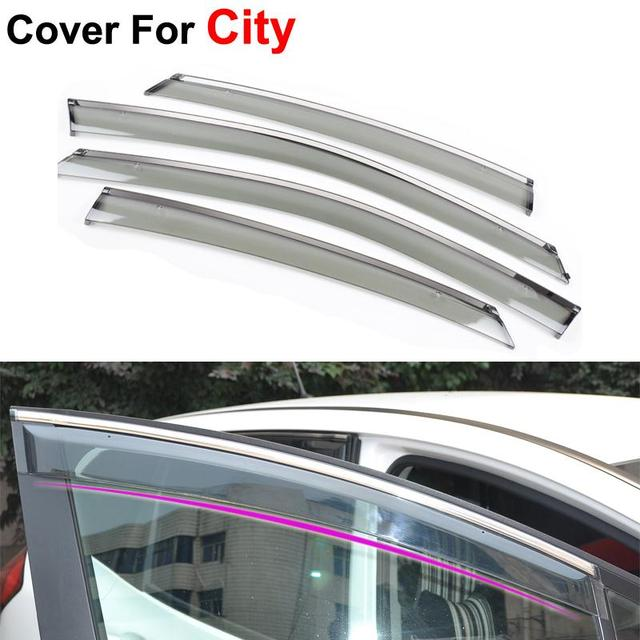 4pcs/lot Car Stylingg Awning Shelters Rain Sun Window Visors For Honda City 2011 2012 2013 Covers Stickers Accessories Shield
