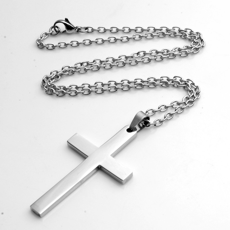 Fashion Simple Cross Pendant Silver Stainless Steel Multi ...