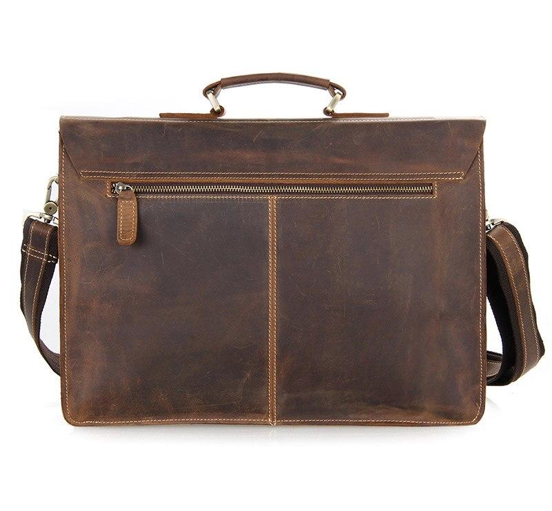 Augus mannen Mode Echt Koe Leer Bruin Business Aktetassen Schoudertas Laptop Handtas Messenger Bag 7105B 1 - 3