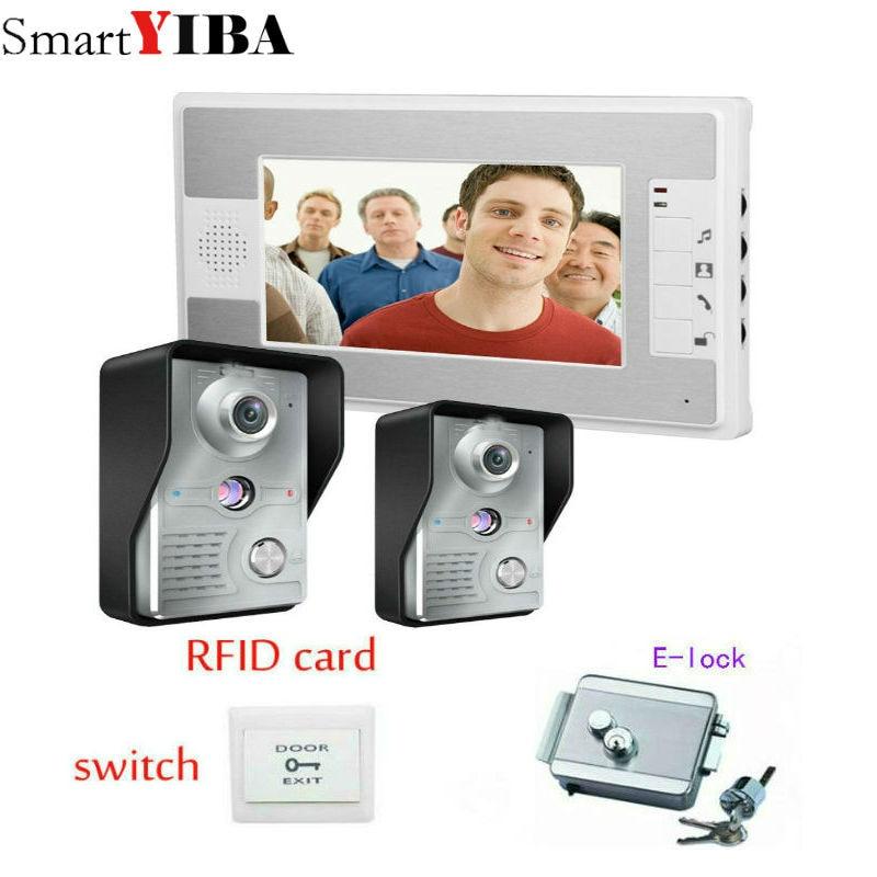 SmartYIBA Two To One Video Doorbell 2 Outdoor Cameras + 1 Indoor Monitor Video Handsfree Intercom Kit System 7 Inch Screen