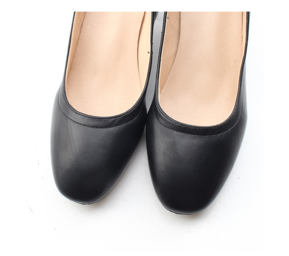 Shoes Women Genuine Leather Fashion Office and Career Rounded Toe 2-inch Block Heel Fashion Office Lady Pumps Size 34-41, K-307 49