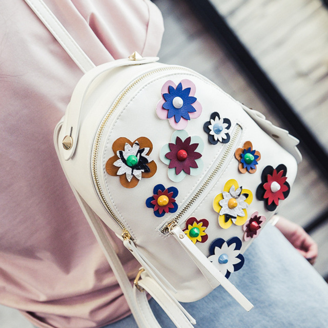 2016 Women backpacks for teenage girls 3D printing flower mini backpack PU leather shoulder bags casual female small travel bags