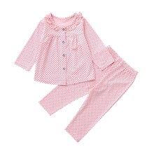 Одежда для новорожденных девочек; одежда для сна для мальчиков и девочек; Топ в горошек с длинными рукавами+ штаны; пижамный комплект; комплекты одежды; Прямая поставка