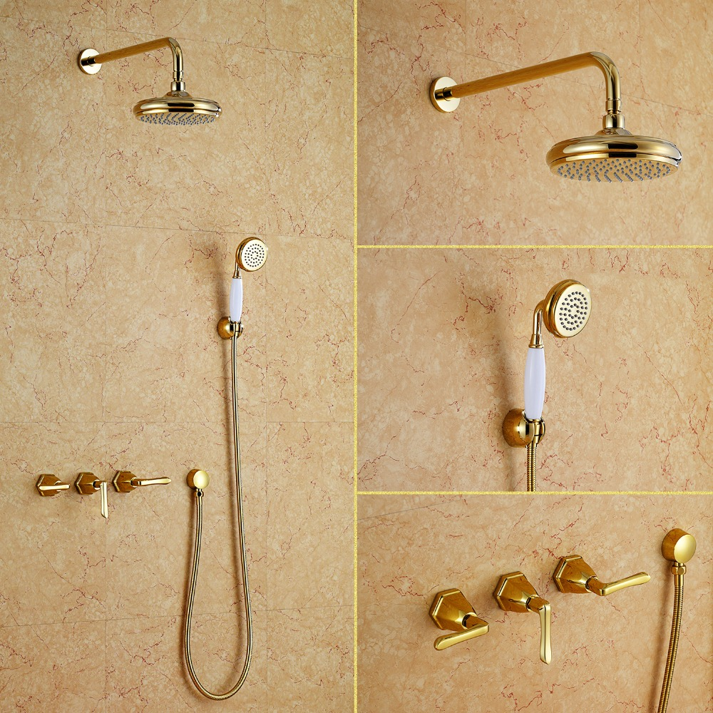 Free ship wall mounted gold PVD finish waterfall shower and bath tub faucet mixer tap NEW