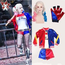 Free shipping Daddy's Lil Manster Ladies Suicide Squad Harley Quinn costumes for Girls kids wig jacket T shirt shorts De Batman(China)