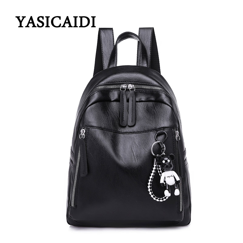 Women Bear Backpack High Quality Youth Black Leather Backpacks for Teenage Girls Female School Shoulder Bag Bagpack Rucksack