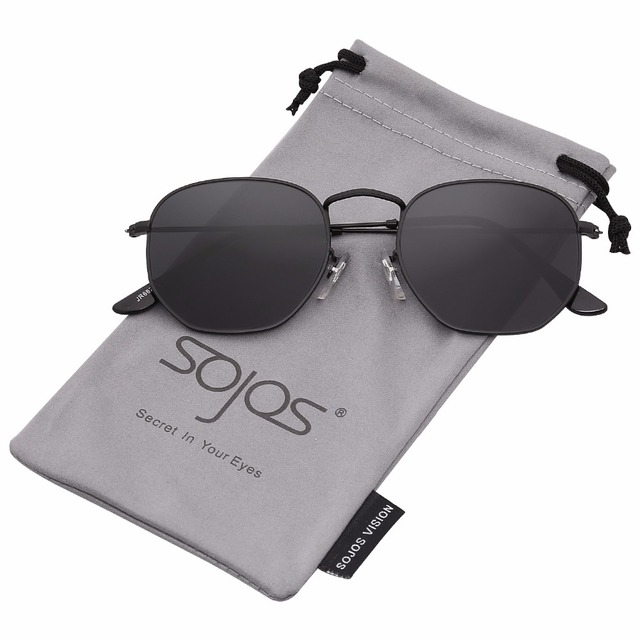 cd803347eb SojoS Small Classic Square Polygon Sunglasses for Men and Women Mirrored  Lens Glasses SJ1072