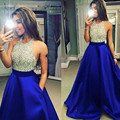Halter Backless Off The Shoulder Satin A Linha Sparkly Partido Abendkleid Vestidos Azul Royal Vestido de Noite Barato