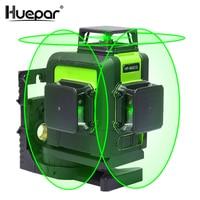 Huepar 12 Lijnen 3D Kruislijnlaser Groene Laserstraal Lijn Zelfnivellerende 360 Verticale en Horizontale Lasers super Krachtige