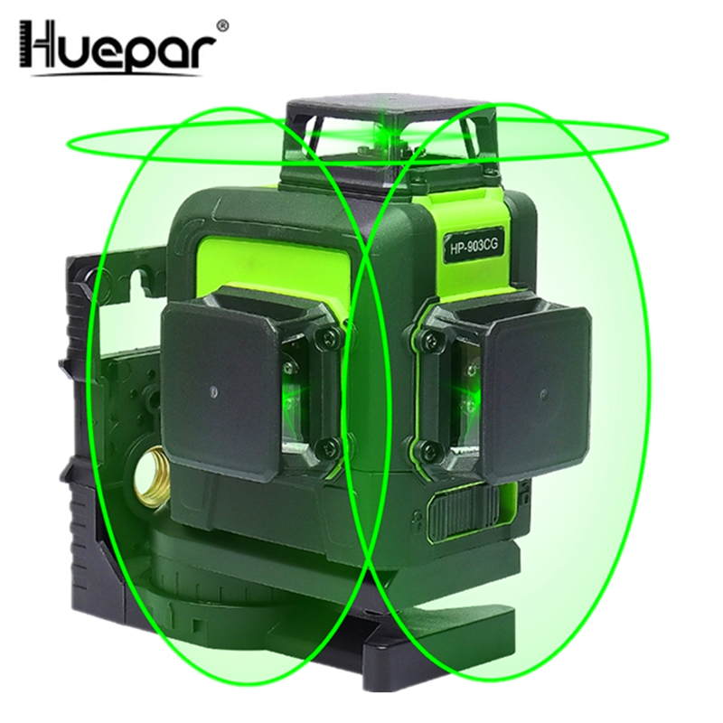 Huepar <font><b>12</b></font> <font><b>Lines</b></font> <font><b>3D</b></font> Cross <font><b>Line</b></font> <font><b>Laser</b></font> <font><b>Level</b></font> Green <font><b>Laser</b></font> Beam <font><b>Line</b></font> Self-Leveling 360 Vertical & Horizontal <font><b>Lasers</b></font> Super Powerful image