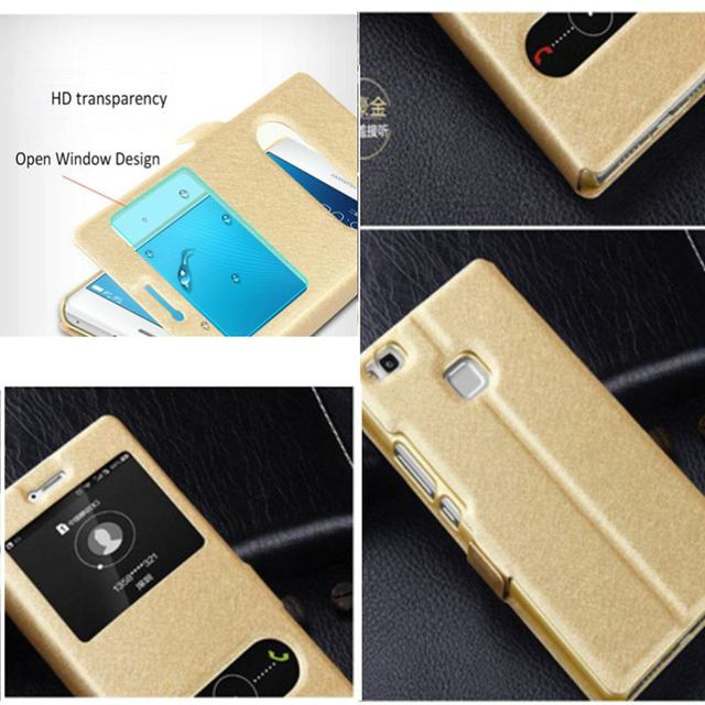 """Silk Grain Leather Phone Case For Huawei P9 Lite 2017 Quick Answer View Window Flip Cover Capa For Huawei P9 Lite (2017) 5.2"""""""