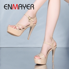 ENMAYER 2019 New Arrival  Patent Leather Women Super High Shoes Basic Party Solid Sexy Size 34-43 LY1838