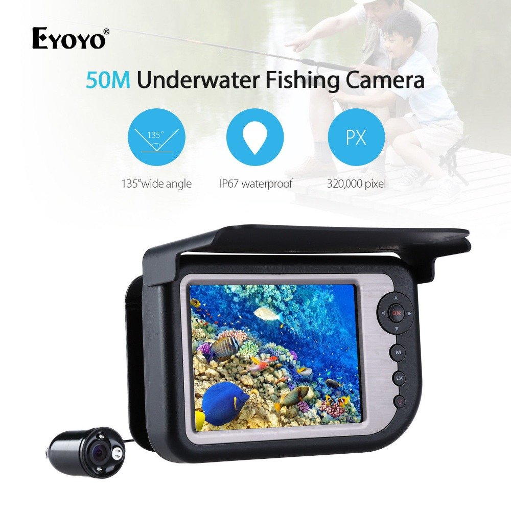 EYOYO LQ-5050DR 50M 5 Infrared Underwater Fishing Camera DVR Fishfinder LCD Recorder Monitor Waterproof 135 degree Wide Angle smart home us au wall touch switch white crystal glass panel 1 gang 1 way power light wall touch switch used for led waterproof