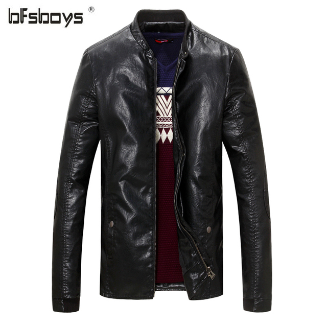 2016 Mens New Fashion Locomotive;motorcycle;biker jackets Leather Slim Zipper Casual PU Leather Free Shipping  L-XXXXL