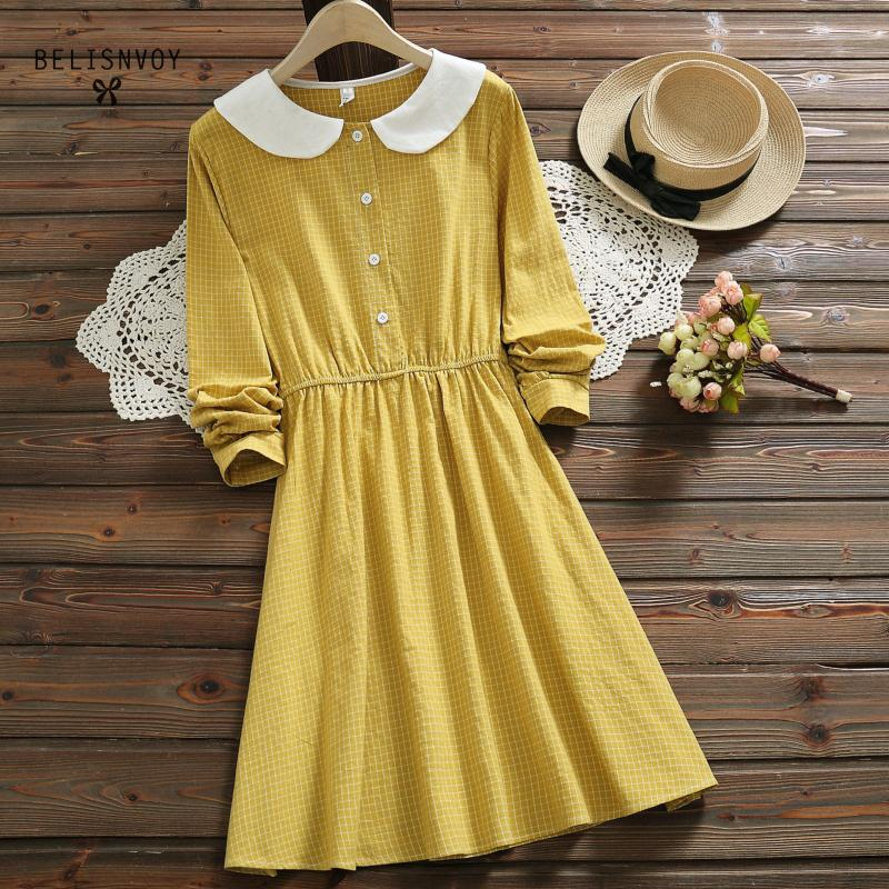Women's Clothing New Arrival Japan Style Spring Fashion Women Long Sleeve Loose Knee-length Print Dress Sweet Peter Pan Collar Ruffles Dresses T0