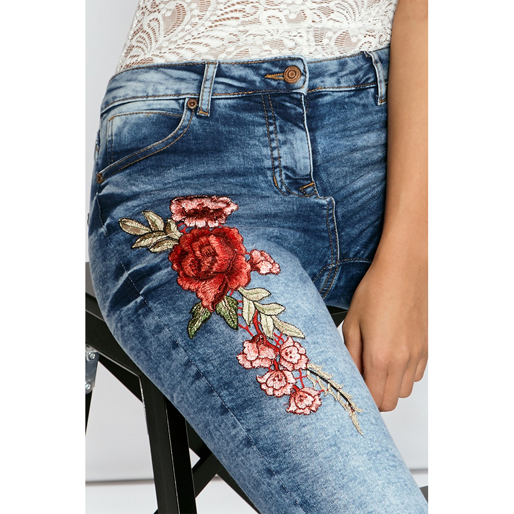 2019 New Fashion Women's Clothing Straight Long Jeans Pants 3d Flowers Embroidery High Waist Womens Slim Jeans Legging Trousers
