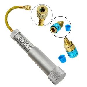 Óleo & tintura seringa 1/4 Polegada sae r134a 2 oz 2 oz lubrificador automotivo ar condicionado refrigerante tubo de enchimento ferramenta injeção| |   -