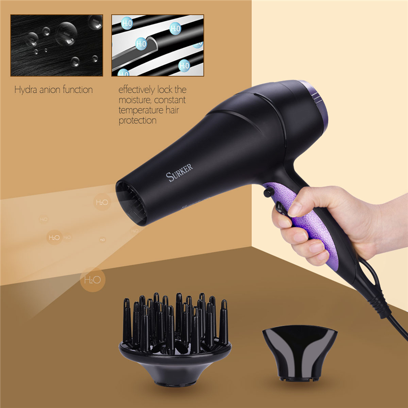 Professonial AC Motor Low Noise Electric Hair Dryer Blower Tube Nozzle Air Diffuser Heat Wind Collecting 2 Speeds Negative IonsProfessonial AC Motor Low Noise Electric Hair Dryer Blower Tube Nozzle Air Diffuser Heat Wind Collecting 2 Speeds Negative Ions
