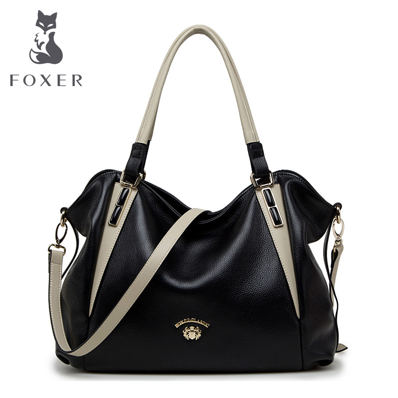 FOXER Women Handbags Genuine Leather Shoulder Bag Brand Fashion Crossbody Bags Female Casual High Quality Totes Messenger Bags foxer brand women s leather handbag fashion female totes shoulder bag high quality handbags