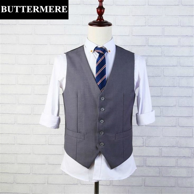 Grey Suit Vest Mens Casual Waistcoat Spring Autumn Thin Jacket Slim Fit Sleeveless Blazer Male Clothing Dress Vest Fashion Gilet