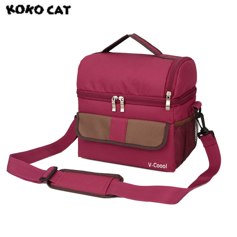 Us 12 63 30 Off Double Layer Fashion Portable Multifunction Lunch Bag Thermal Food Picnic Bags For Women Cooler Box Kids Milk In