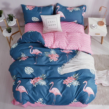 Nordic Flamingo Children Duvet Cover Set Solid Color Bed Sheet Pillow Case 100% Polyester Soft Bedding Sets