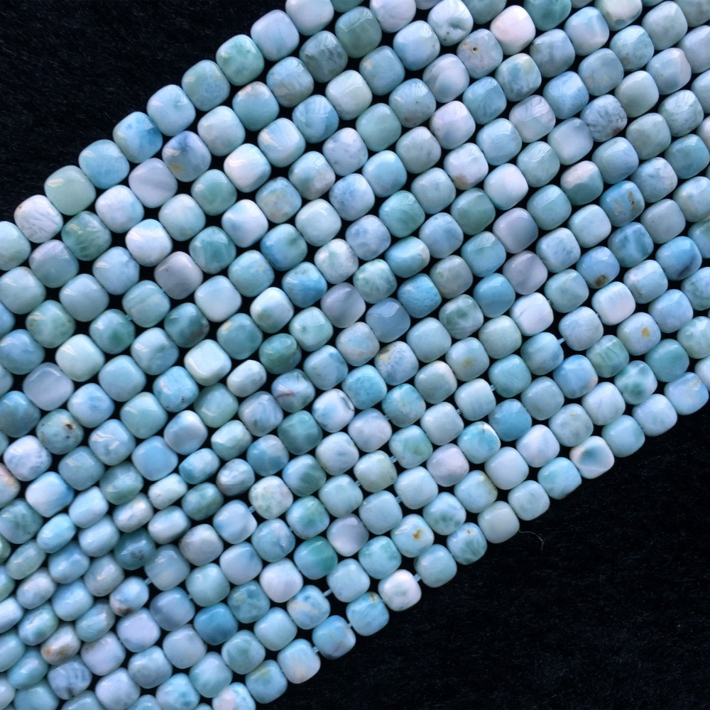 Dominicana Natural Genuine Blue Larimar Square Fillet Small Beads 15