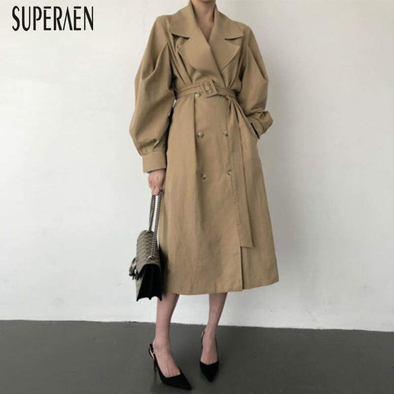 SuperAen Temperament Women Windbreaker 2019 Autumn New Korean Style   Trench   Coat for Women Solid Color Casual Women Clothing