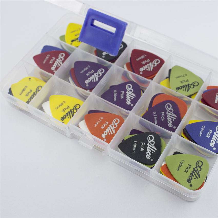 50pcs Guitar Picks 1 box case Acoustic Electric Bass Pic Plectrum Mediator Guitarra Musical Instrument Thickness mix 0.58-1.5 100pcs acoustic electric guitar picks parts acoustic celluloid plectrum multi 0 46 0 71mm classical guitar pick
