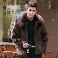 New 2016 winter fashion soild colar fox fur coat men outerwear chaqueta hombre sigle breasted jacket men men's clothing /MY2