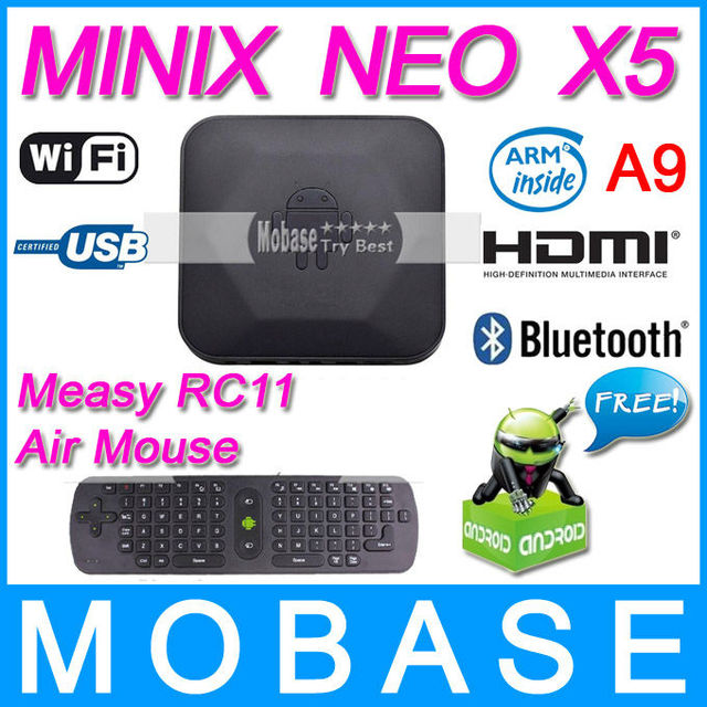 [ Free Measy RC11 Air Mouse ] MINIX NEO X5 RK3066 Dual Core Cortex A9 Google Smart Android TV Box Wifi Bluetooth USB RJ45 HDMI