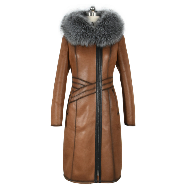 Factory direct supply The 17 New winter Faux Fur coats women long fashion Large size Artificial fox fur collar suede thick Plush