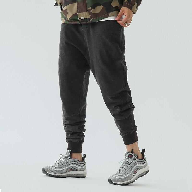 fd7da638f4d CHINISM hombres Ocasionales de Mediana Altura Pantalones Basculador Negro  Cordón Hacer Viejo Vintage Jeans 2017 Loose Jeans Ropa de Calle Pantalones  para ...