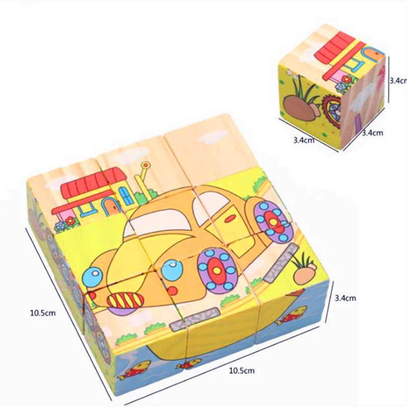 Woodne seis-face pintura quebra-cabeça 3d desenhos animados animais crianças edifício educacional tijolo meninos meninas brinquedos do bebê crianças presente novo d20