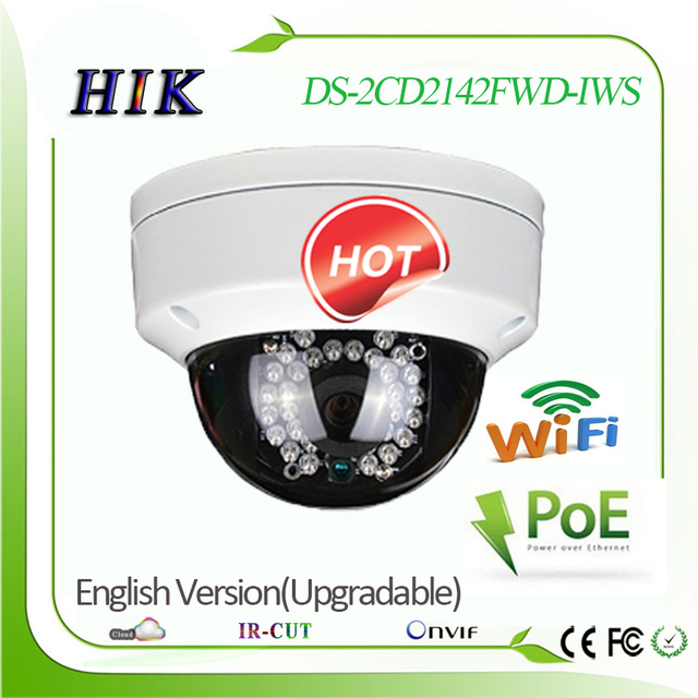 Hik Upgradable English version 4MP Waterproof Dome wifi wireless IP Network Camera DS-2CD2142FWD-IWS POE with NAS function